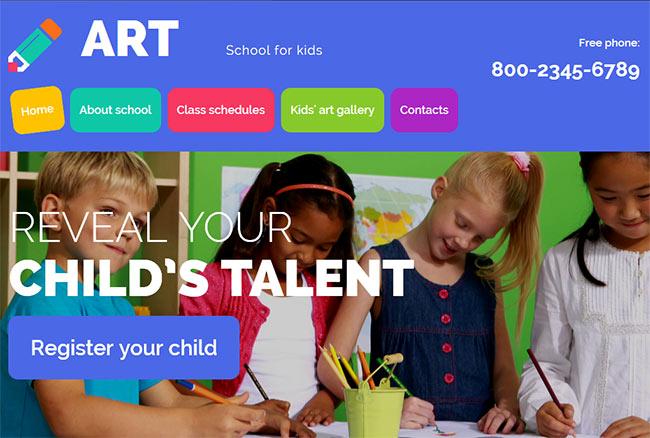 детский, школьный шаблон сайта