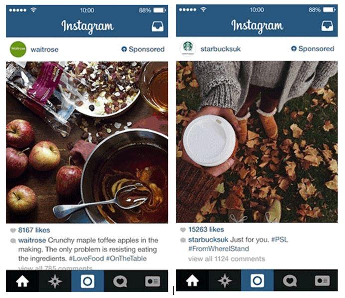 пример рекламы в ленте Instagram